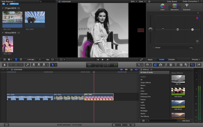 Final Cut Pro X : Color correction, Color Mask